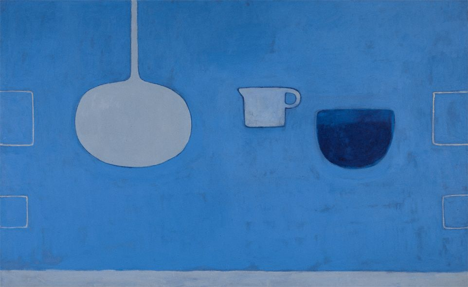 William Scott, Blues, 1981, Oil on canvas, 122 × 198 cm / 48 × 78 in, Merrion Hotel Collection, Dublin
