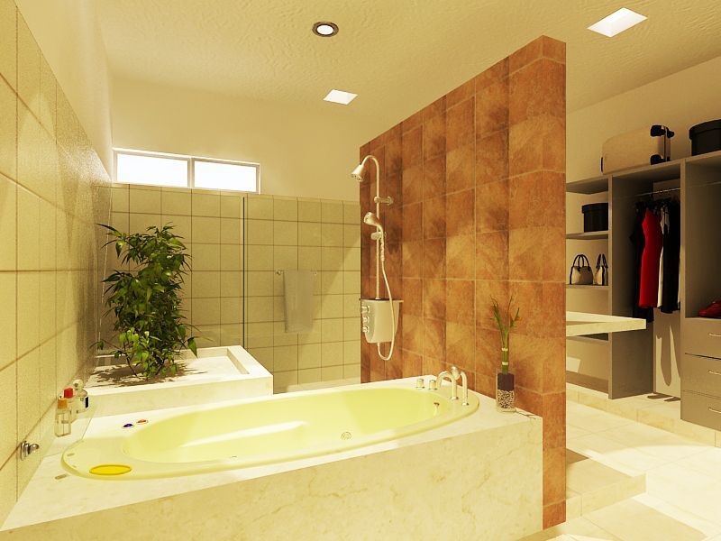 Baño con tina, detalles en piedra cantera. Closet Vestidos abierto.