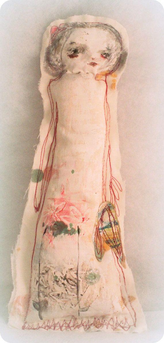 SALE primitive art doll WILDFLOWER original by mindylacefield