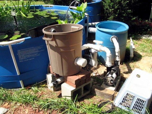 Intex pool for pond koi fish stock tank pinterest for Gravity pond filter setup
