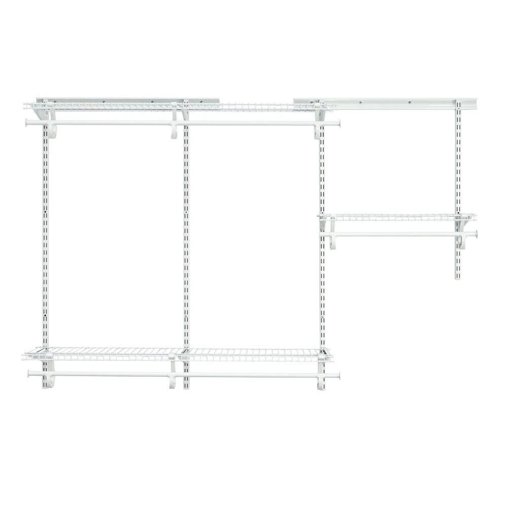 ClosetMaid ShelfTrack 3 ft. - 6 ft. White Wire Closet Organizer Kit-2073 - The Home Depot