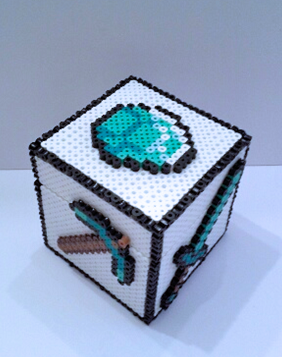light up minecraft redstone lamp inspired box made of perler beads minecraft inspired diamonds box perler beads by boushwa4 on