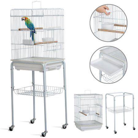 Yaheetech 46.5â â Metal Rolling Bird Cage Parrot Finch
