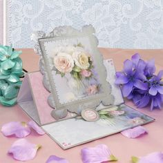 Card made using Lily Blossoms Luxury Topper Set from the Frosted Florals collection by Hunkydory Crafts http://www.hunkydorycrafts.co.uk/papercraft/hunkydory-collections/frosted-florals/frosted-florals-luxury-topper-set-lily-blossoms-frost906.html