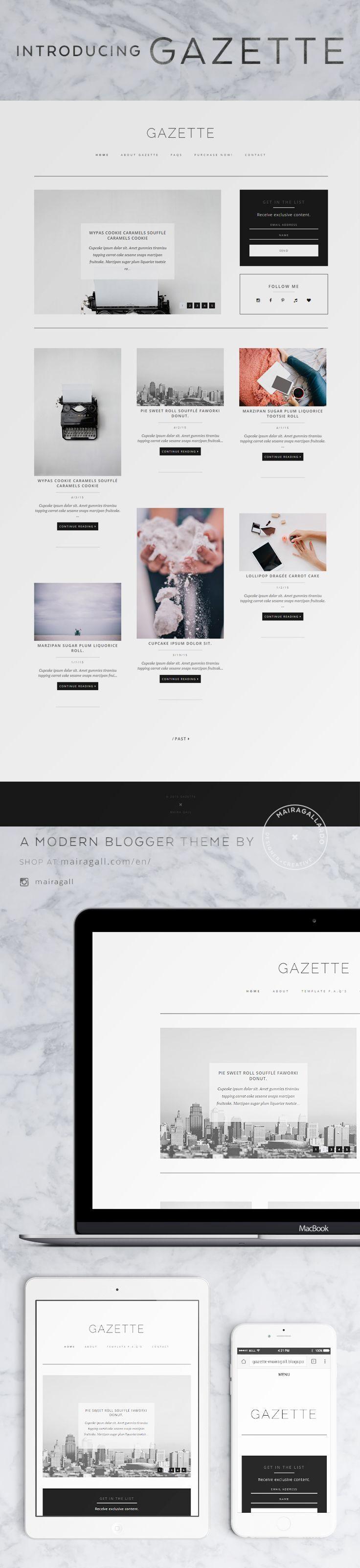 Fashion Blog design. Blogger template. Feminine blog theme ...