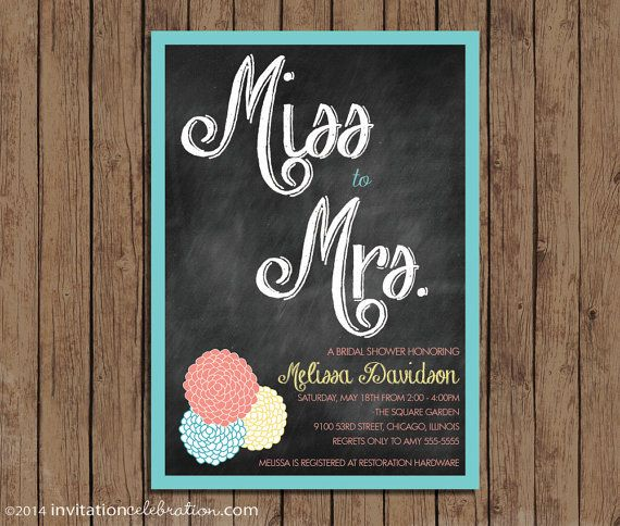 Bridal shower invitation from miss to mrs vintage retro miss to mrs vintage bridal shower invitation choose by invitationceleb 1500 turquoise coral yellow filmwisefo Gallery