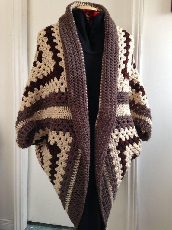 Crochet Granny Square Cocoon Sweater by HandmadebyHeikeHeart ...