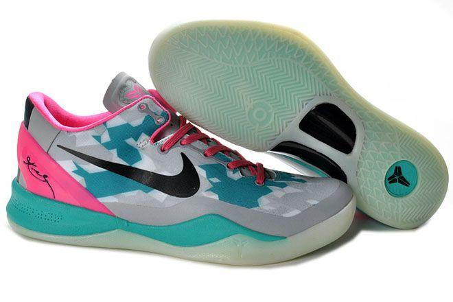 Nike Kobe 8 Mens Bryant Basketball Shoes Grey/Green/Pink/Black