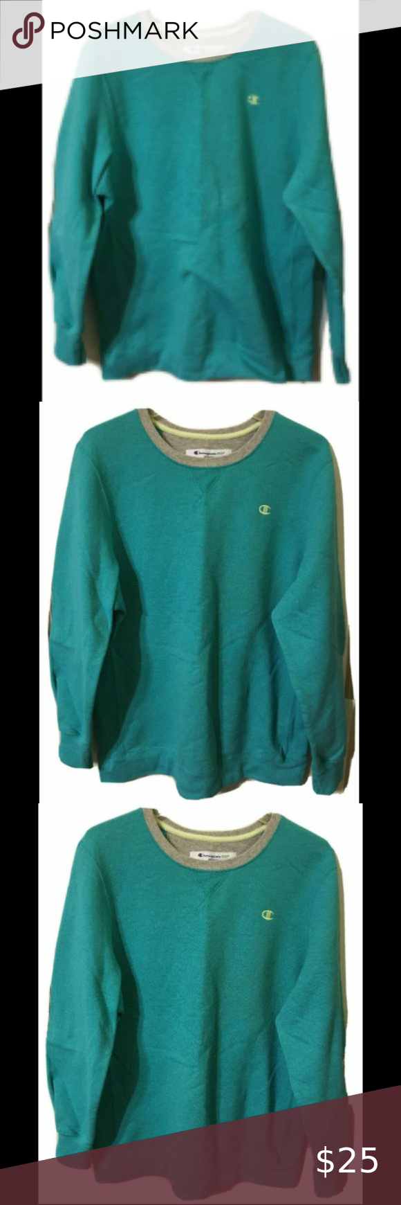 Champion Eco Sweatshirt Sz L Turquoise Logo Men In 2021 Crop Top With Jeans Black Champion Hoodie Sweatshirts [ 1740 x 580 Pixel ]