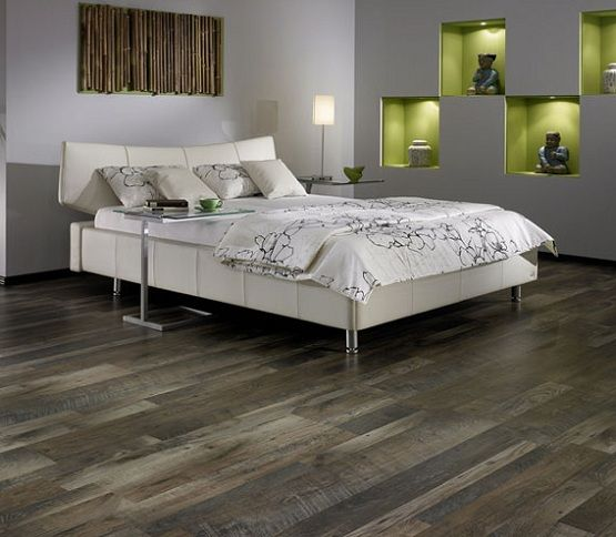 Dark Grey Laminate Flooring In Bedroom With White Bedding Sets Grey Laminate Flooring Stylish Flooring Dark Grey Laminate Flooring