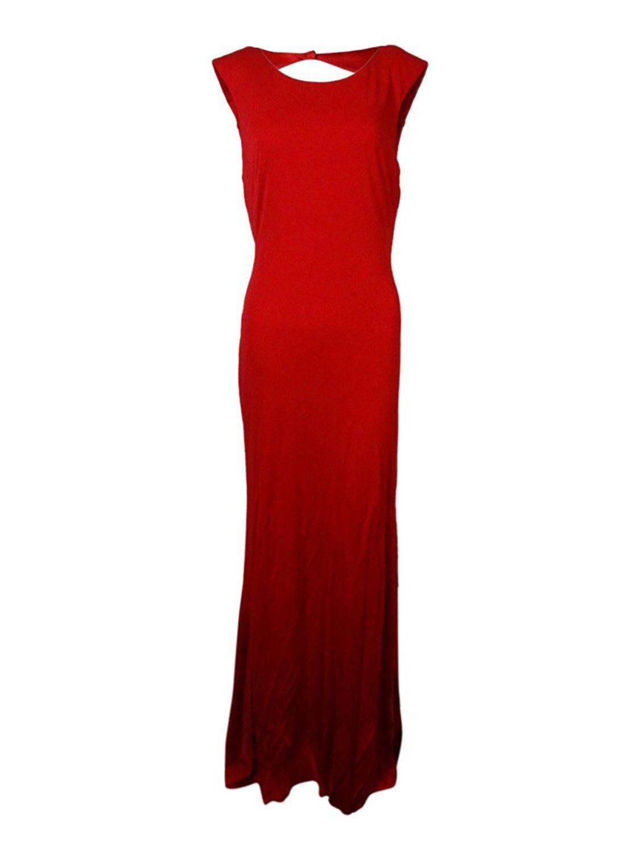 Red wedding dresses vera wang  Amazon Vera Wang Womenus Open Back Long Jersey Gown  Poppy