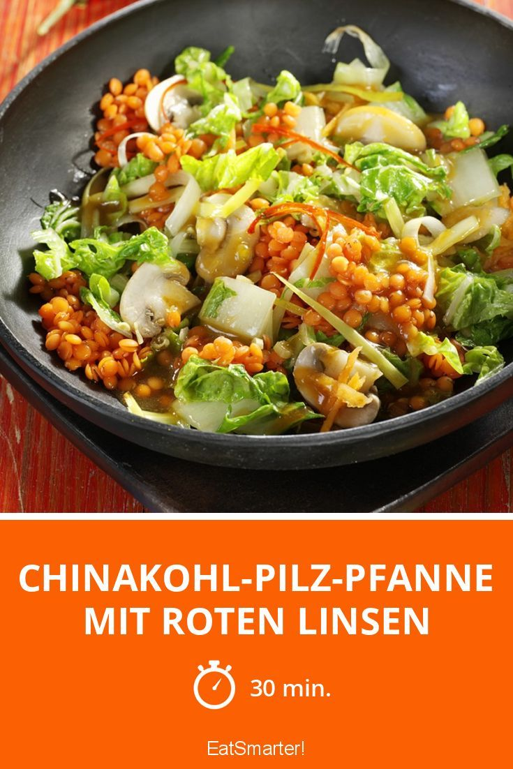 Photo of Chinese cabbage mushroom pan with red lentils