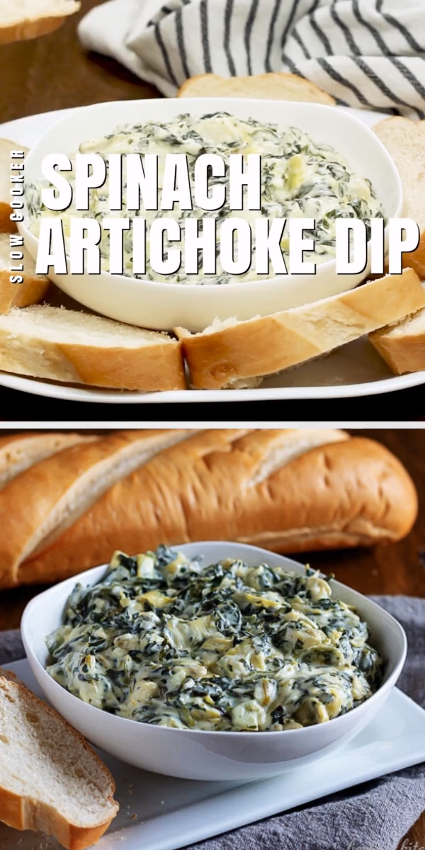 Our Spinach Artichoke Dip Recipe is an easy to prepare slow cooker dip made with three kinds of cheese. It's cheesy, warm, and delicious! This slow cooker spinach and artichoke dip recipe will be a favorite at your next party. #berlyskitchen