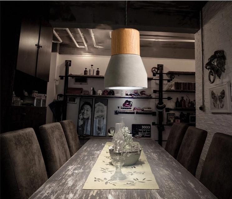 Home Living Grau Beton Pendelleuchte Eiche Holz Hängen Lampenschirme   Buy  Product On Alibaba.com