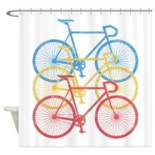 Rby Red Blue Yellow Bikes Shower Curtain For Fabric Shower