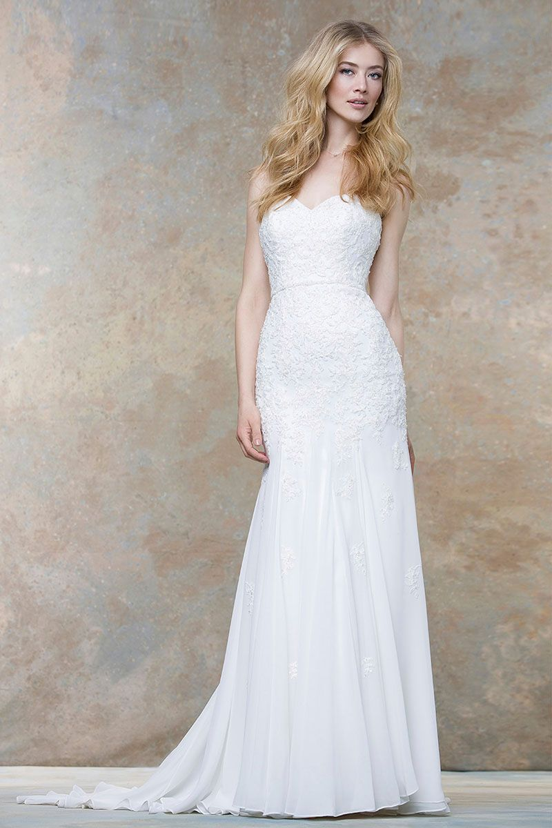 Ivory Strapless Sweetheart Crafted Lace And Chiffon Wedding Dress Fit And Flare