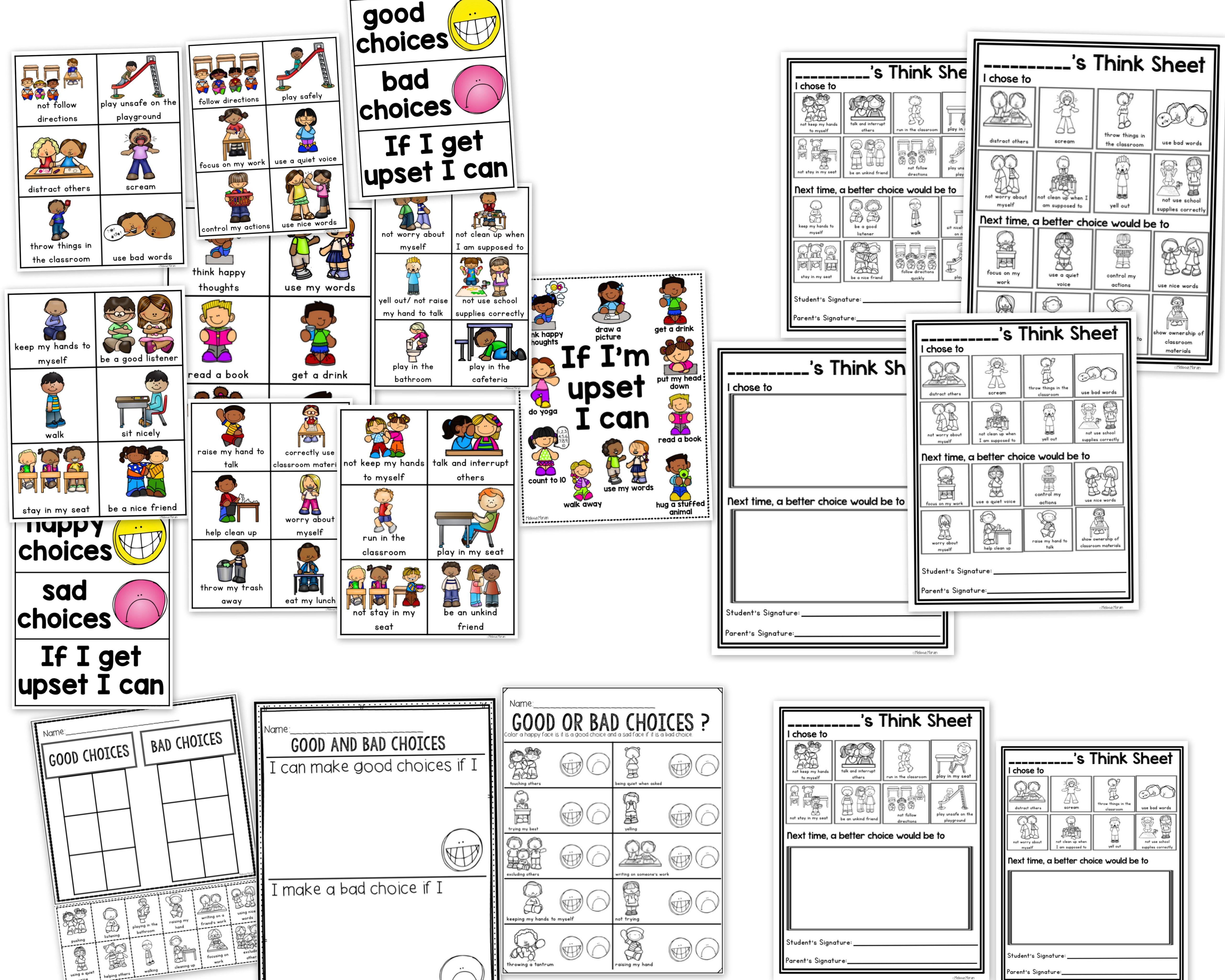 Visual Think Sheet and Behavior Management by Melissa Moran ...