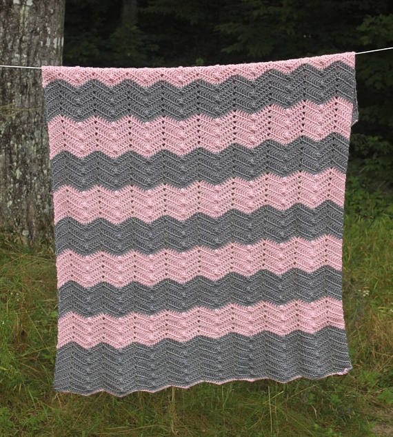 Ripple Waves Easy Baby Blanket Crochet Pattern Pink And Grey Ripples