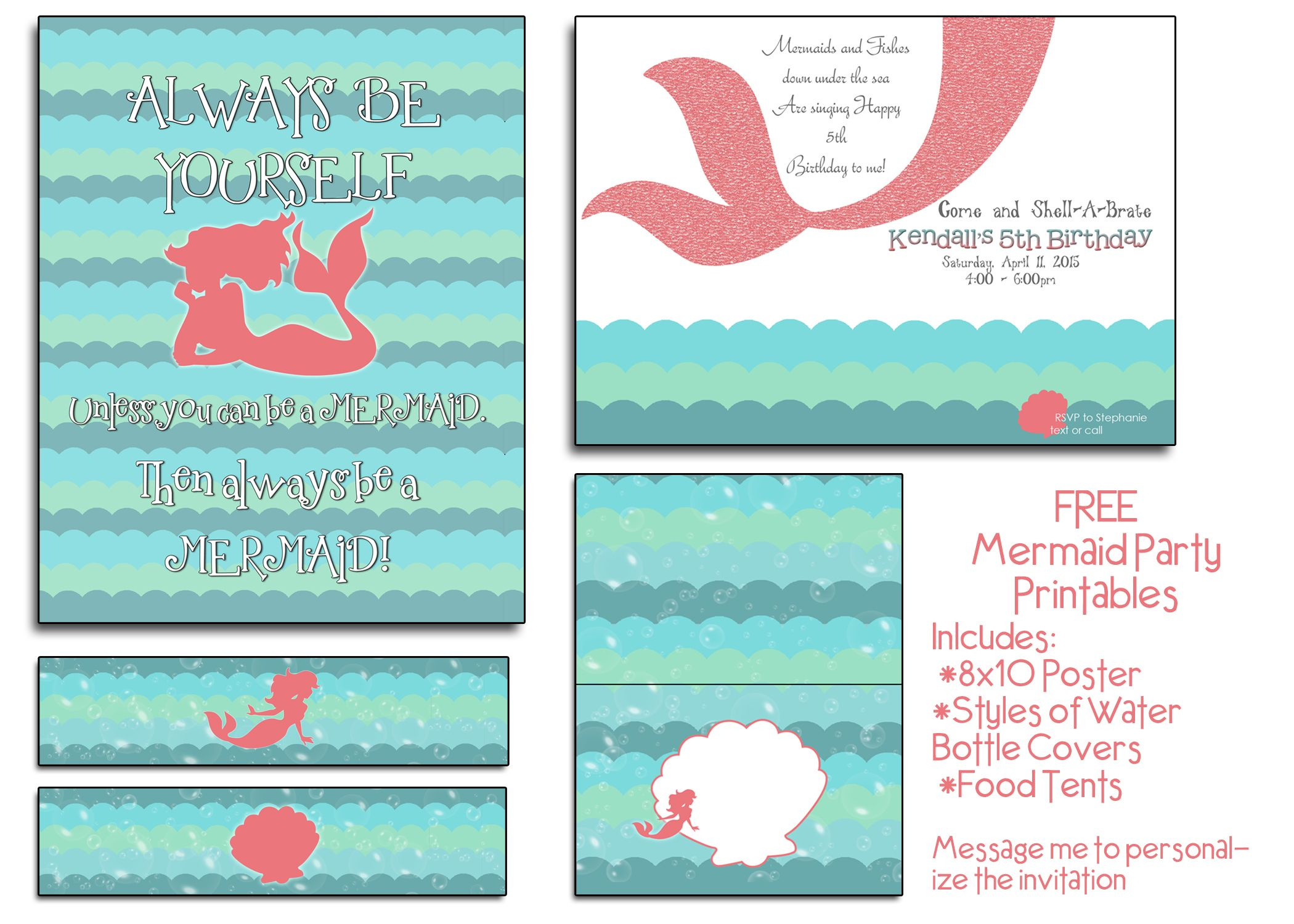Free mermaid party printables i will even customize the invite at i will even customize the invite at no cost as well solutioingenieria Images