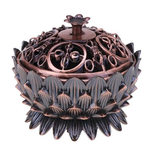 Iron Metal Lotus Incense Burner Sandalwood Censer Incensory Tibetan Incense Burner Vintage Home Decoration