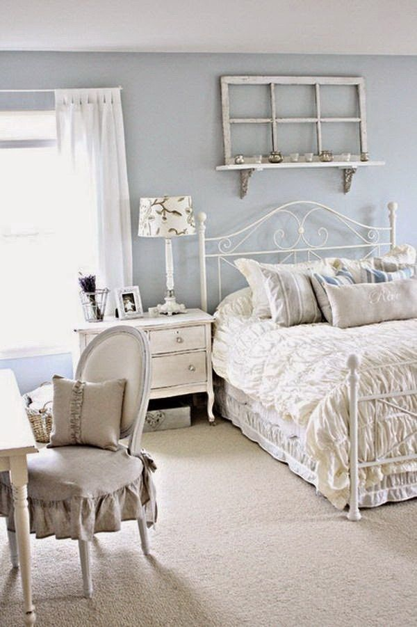 Vintage White Bedroom Decorating Idea More