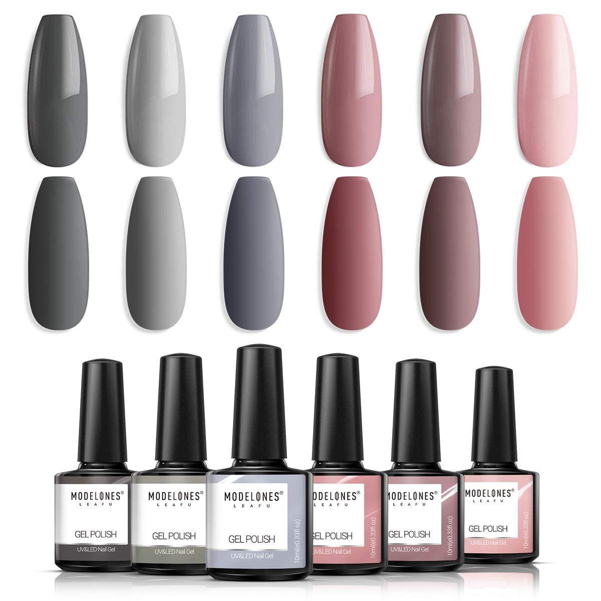 Modelones Gel Nagellack Set – Nude Grey Serie 6 Farben Nail Art Set, UV LED Soak Off Gel,