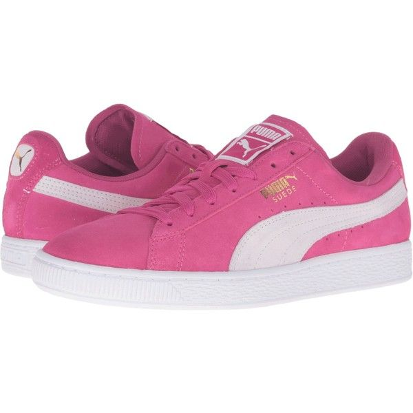 PUMA Suede Classic (Fuchsia Purple/Puma White) Women's Shoes ($36) ❤ liked  on Polyvore featuring shoes, pink, suede shoes, long shoes, white suede …