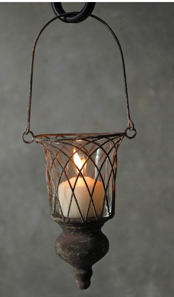 Hanging Wire Candleholder With Wood Finial 13in Save 37 Hanging Candle Holder Hanging Candles Candle Holders