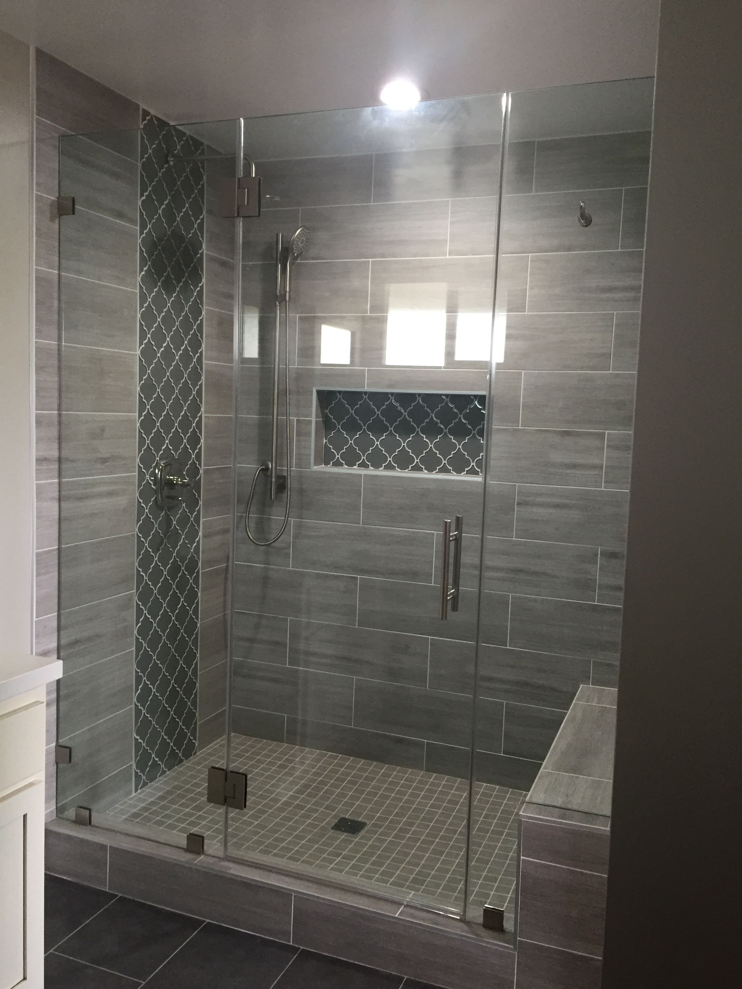 Finished Updated Walk In Shower With Glass Door Arabesque
