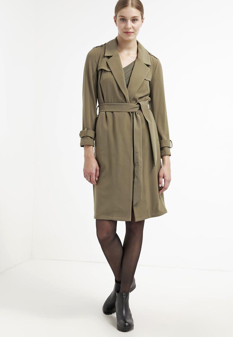 Dames Miss Selfridge FLUID  - Trenchcoat - dark green khaki: 67,95 € Bij Zalando (op 13/05/16). Gratis verzending & retournering, geen minimum bestelwaarde en 100 dagen retourrecht!