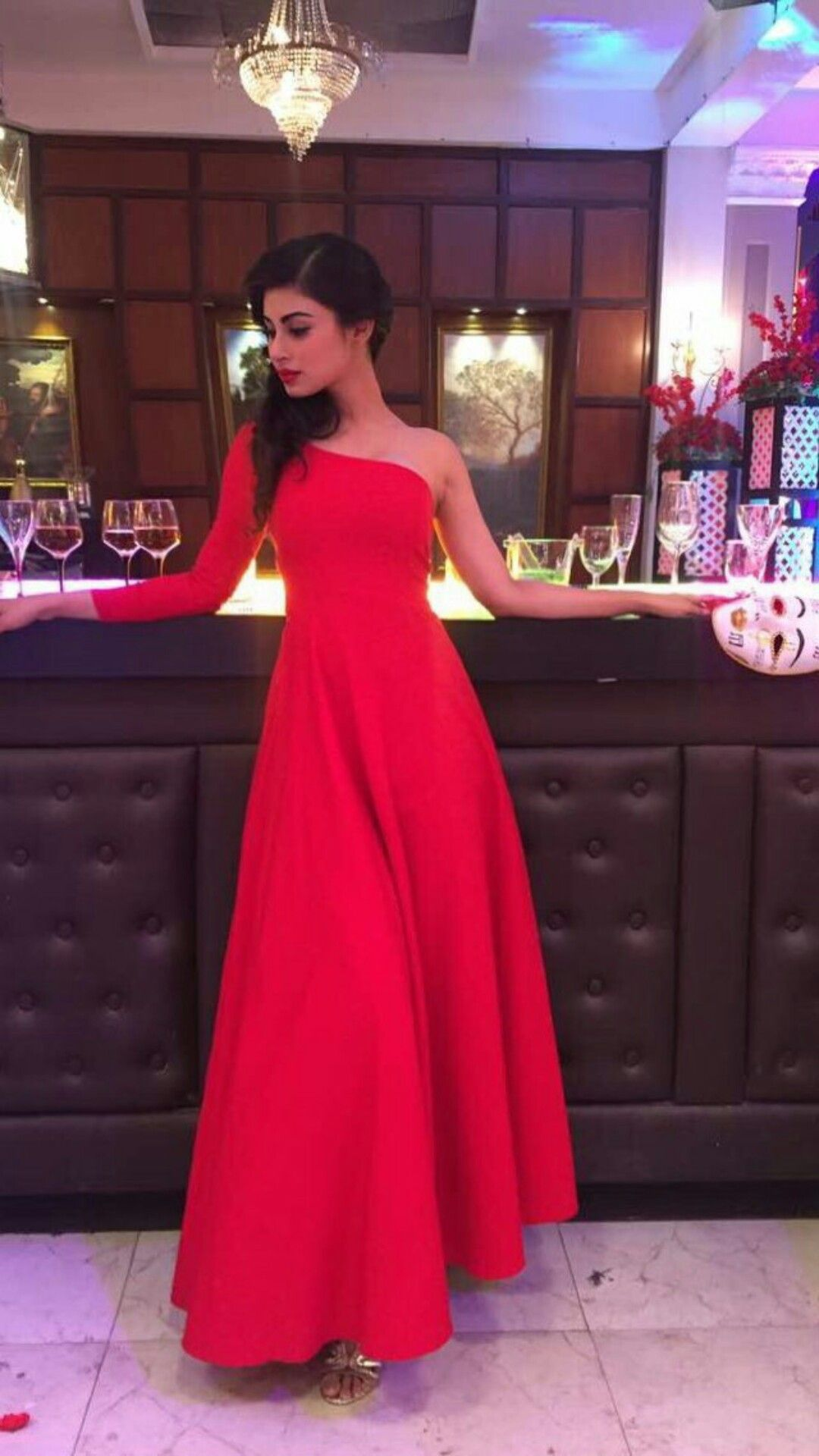 Red my favourite mouni roy pinterest dresses fashion and