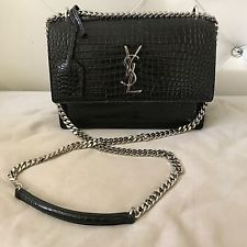 dc781fb507c Sunset Monogram Saint Laurent Bag / Black Crocodile Embossed Leather