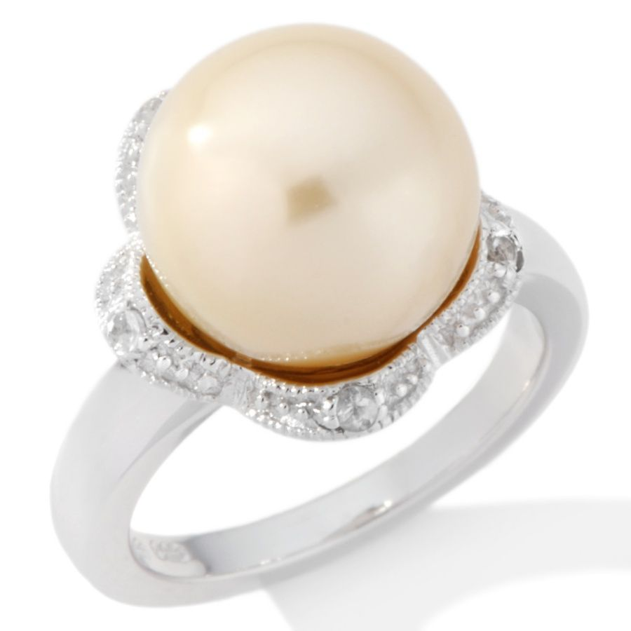 11-12mm Cultured Golden South Sea Pearl and White Topaz Sterling Silver Ring #pearls #jewelry