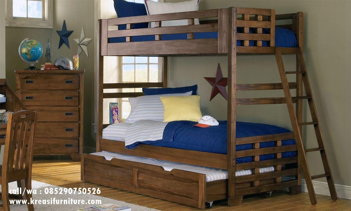 Tempat Tidur Tingkat Jati Solid Klasik | Ranjang tingkat ...