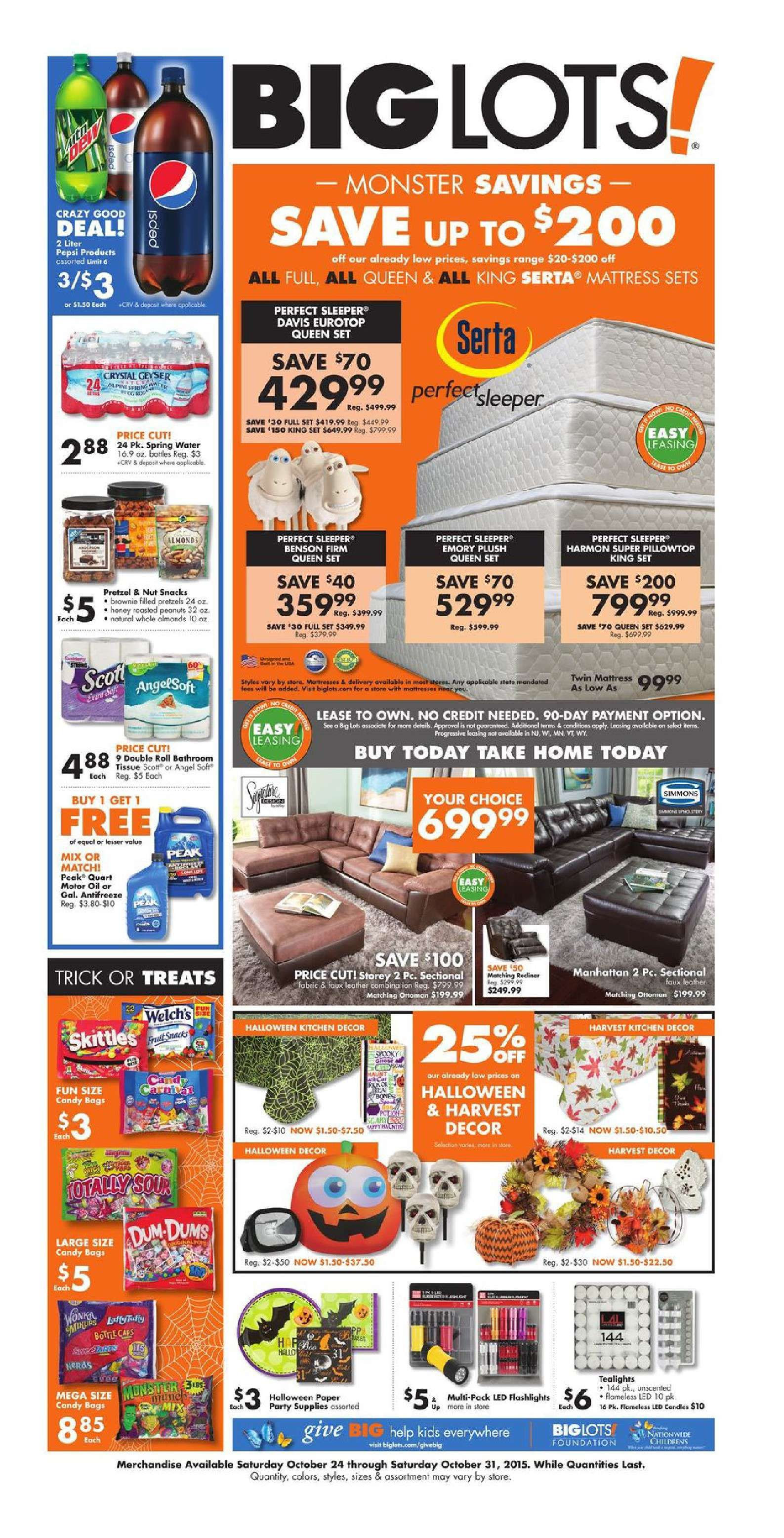 Big Lots Furniture October 24 31, 2015 http//www