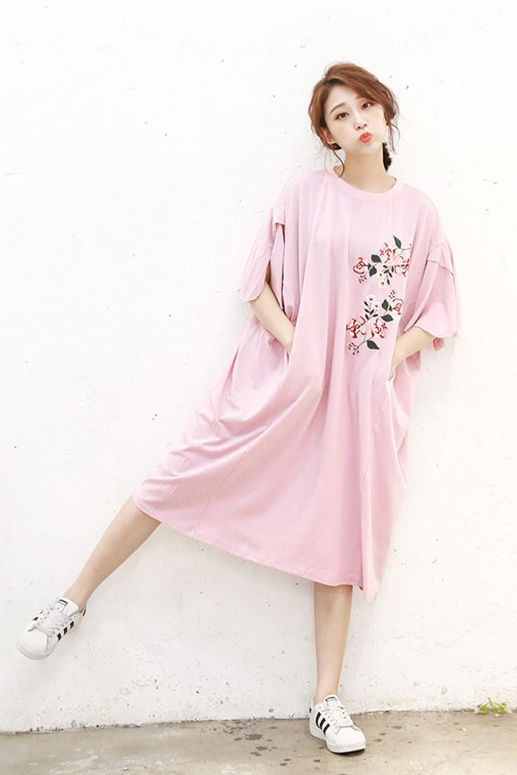 Cute pink t shirt dress south korea airport fashion kpop drama cute pink t shirt dress south korea airport fashion kpop drama korean women ootd voltagebd Image collections