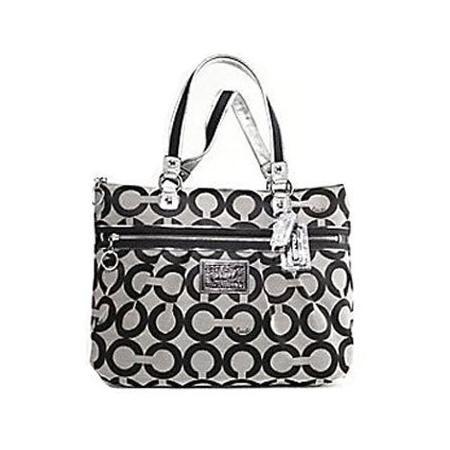 Coach Signature Op Art Poppy Glam Shopper Bag Purse Tote 15331 Black White 4732335a963c8