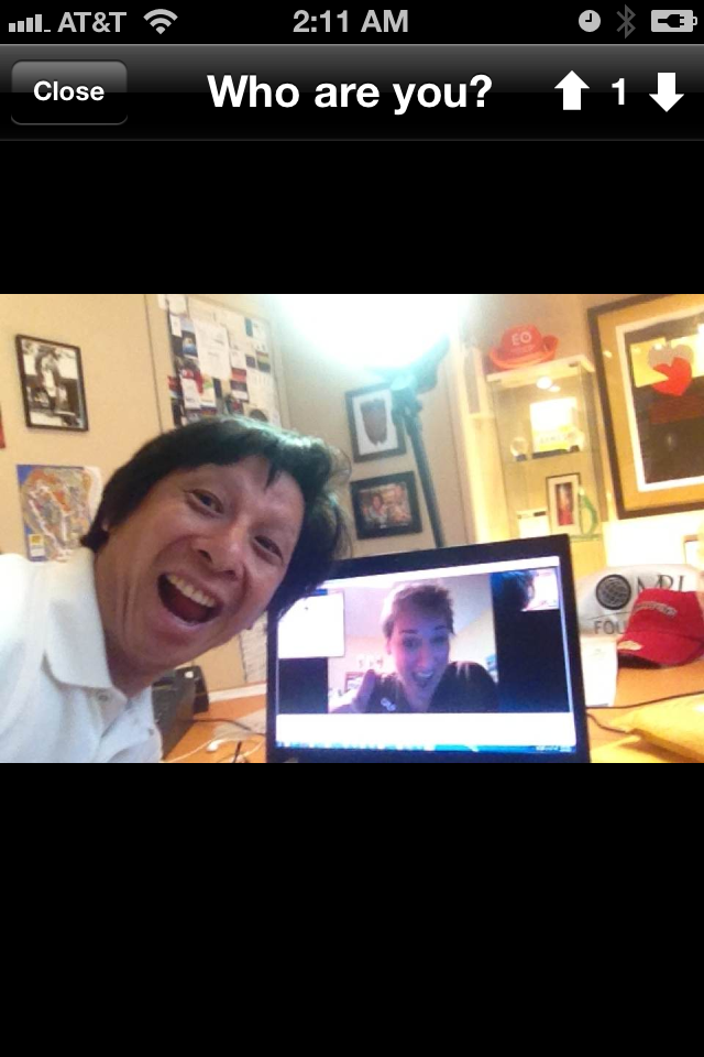 Who are you? This is John Chen and I on a Skype video call - with