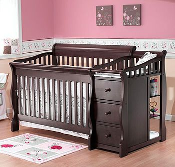 Baby Crib With Attached Changing Table Converts To Full Size Bed - Table converts to bed