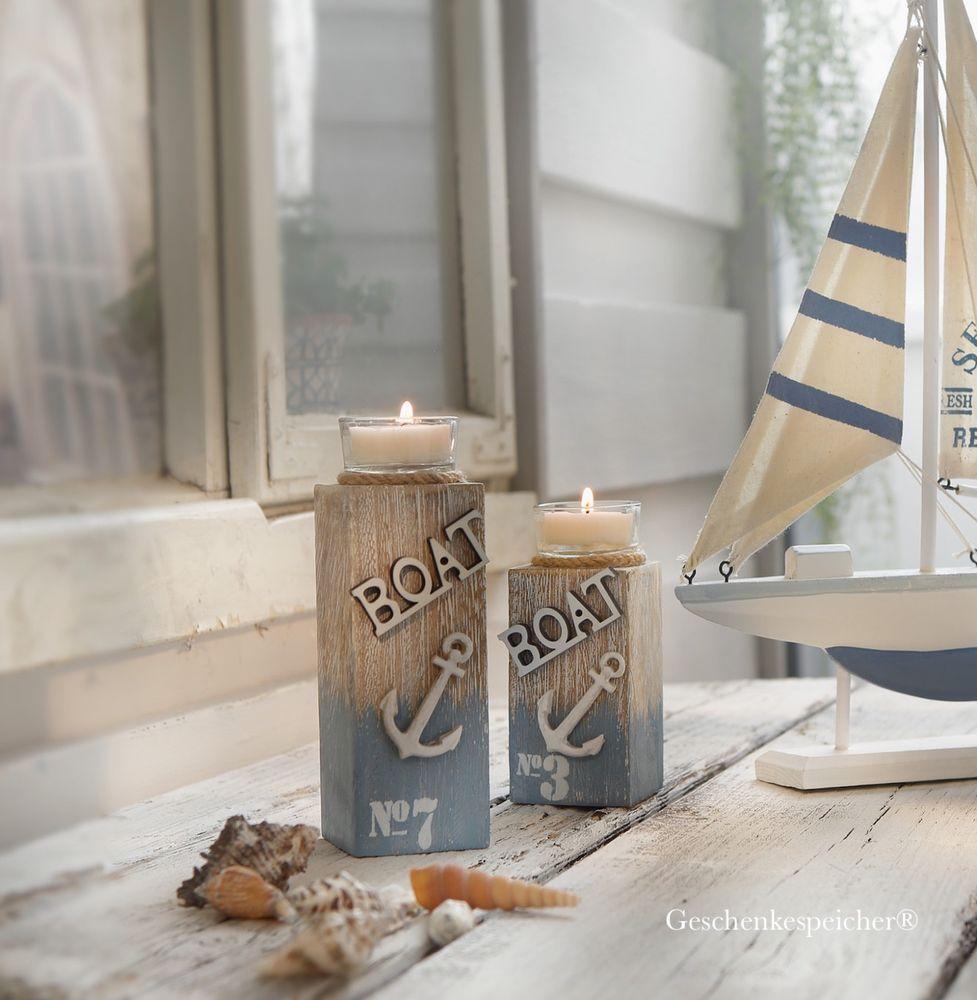 Windlicht Teelicht Halter Holz Deko Maritim 2 Stuck Im Set Boot Anker 16 12 Cm Ebay Deko Anker