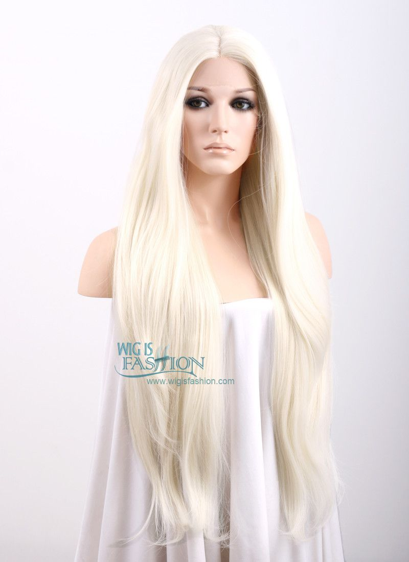 Straight Platinum Blonde Lace Front Synthetic Wig Lw150d Long Blonde Wig Long Hair Wigs Blonde Lace Front Wigs