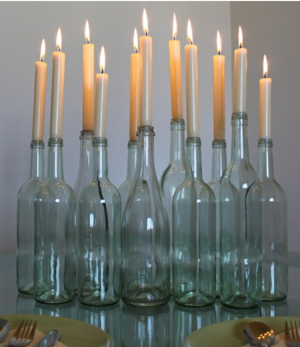 candles with green bottles instead of clear