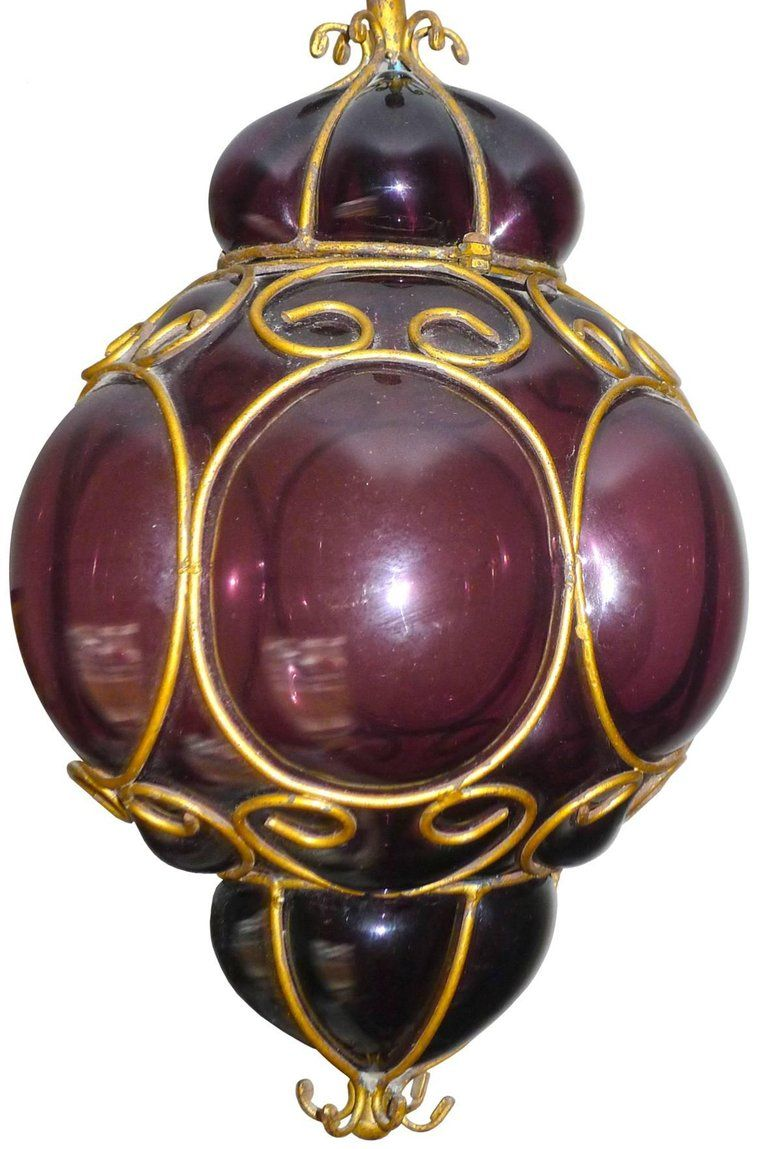 Vintage purple murano hand blown caged glass iron lanternpendant