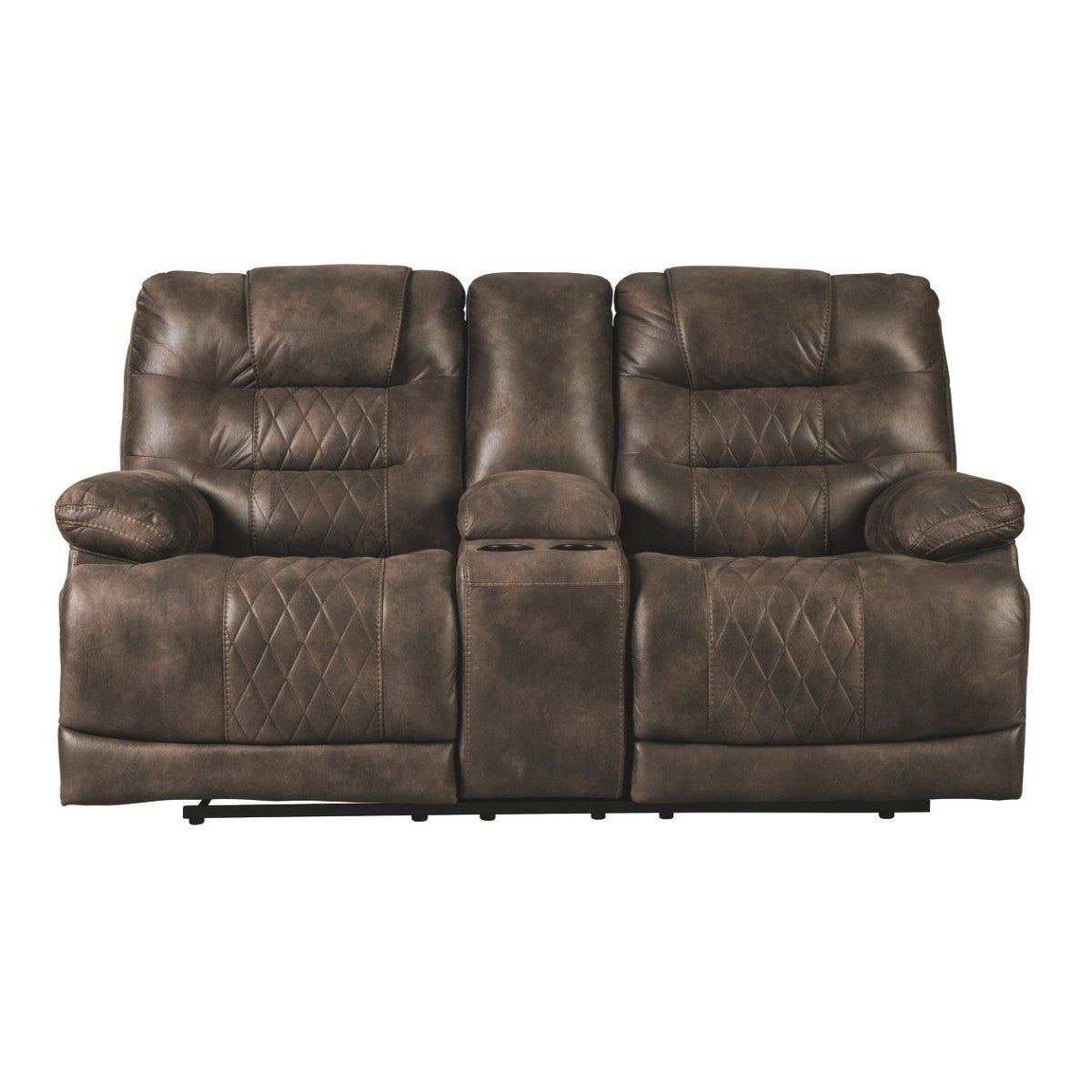 Best Leatherette Upholstered Metal Power Reclining Loveseat With Console And Adjustable Headrest 400 x 300