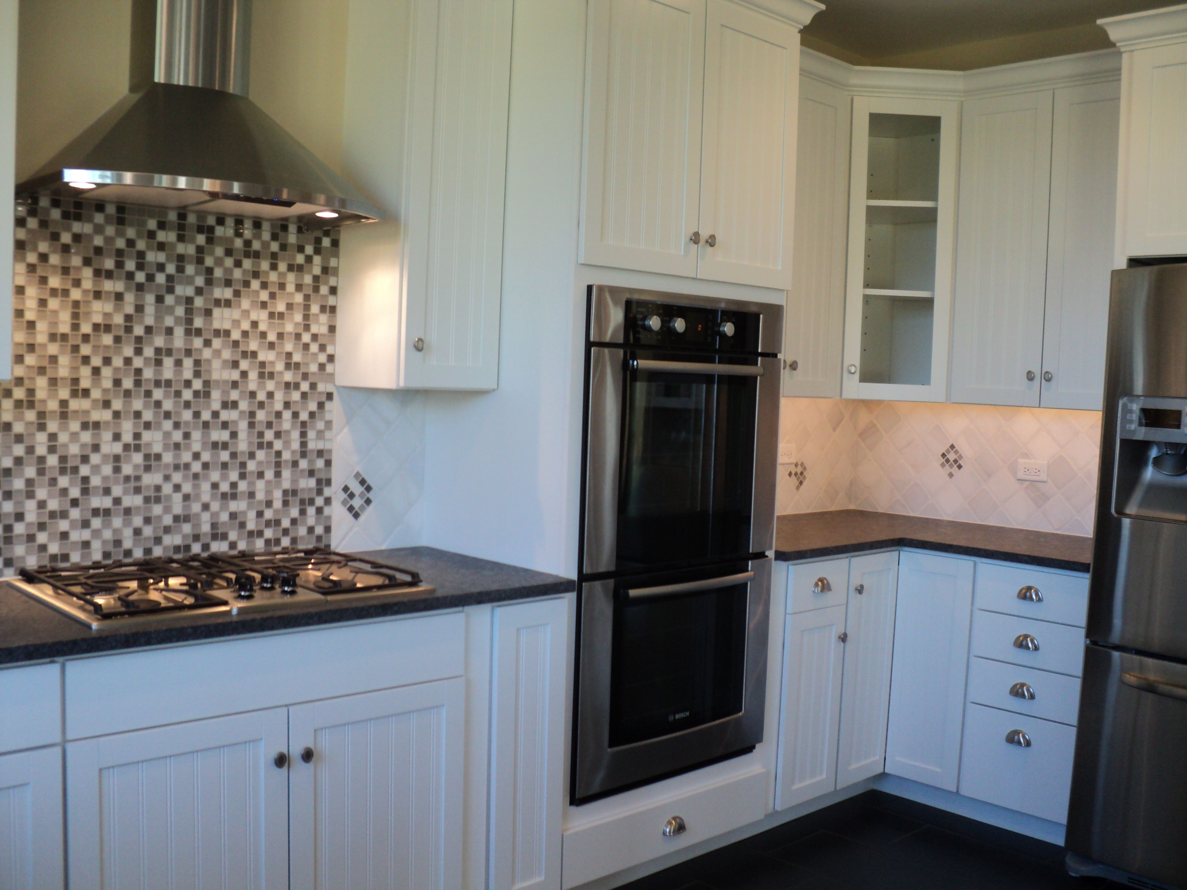 White cabinets with stainless steel appliances | Kitchen ...