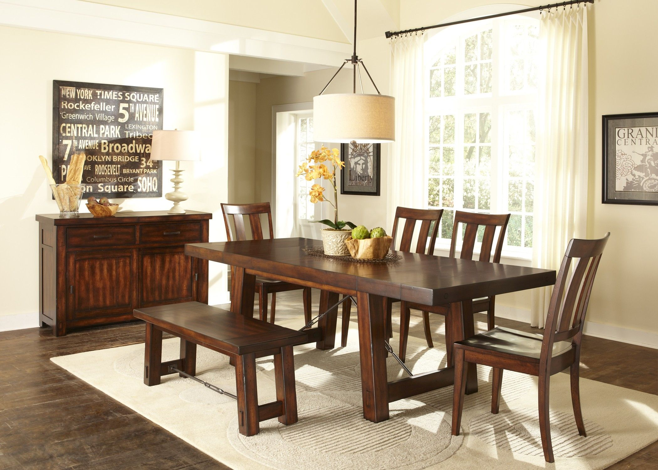 Liberty furniture tahoe casual dining table chairs and bench