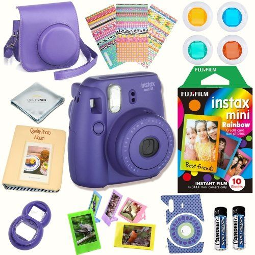 Fujifilm Instax Mini 8 Camera Grape Bundle Includes Instant Camera