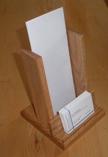 Brochure And Business Card Holder Made From Solid Oak