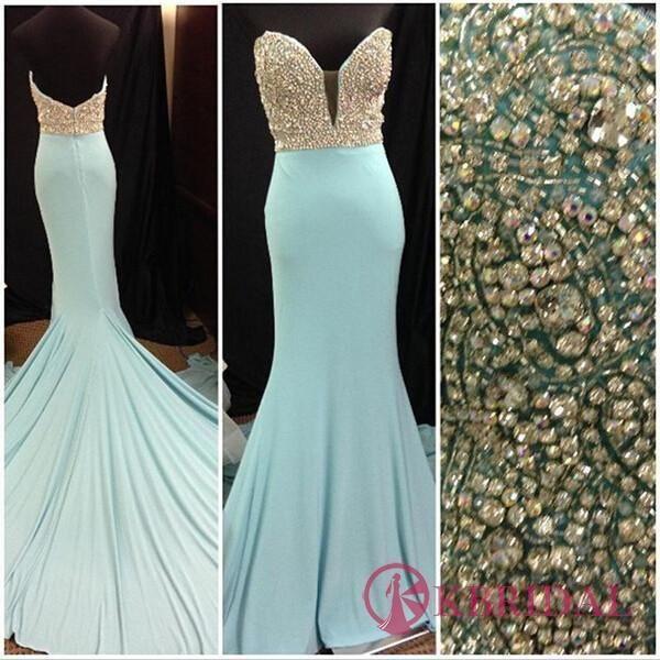 Gorgeous Long Blue Sweetheart Mermaid Elegant Beading Strapless Prom Dresses uk KB2018153