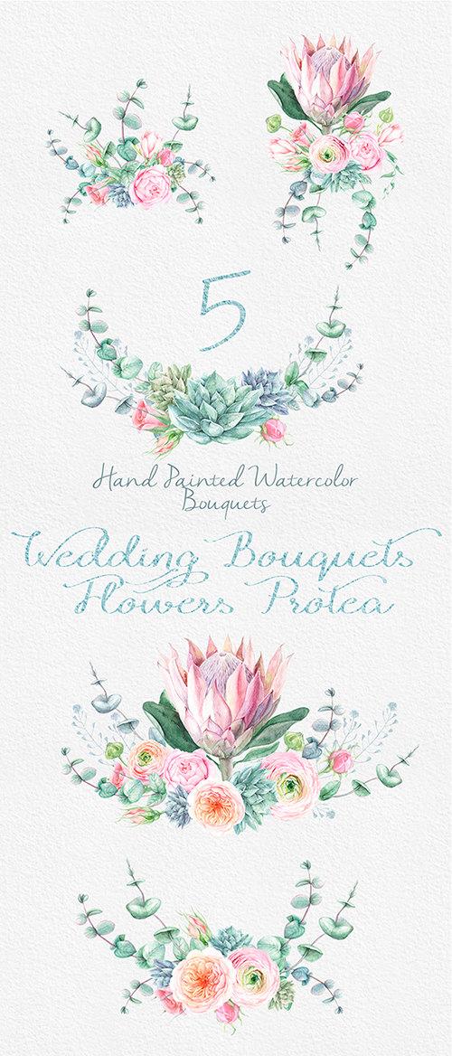Wedding Watercolor Bouquets Protea Flowers Roses Eucalyptus